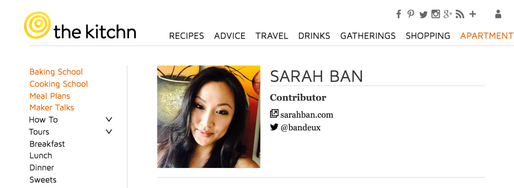Kitchn author page sarah ban writer